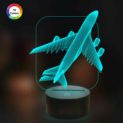 Airplane Lamp 3D Illusion Night Light with 16 Color Remote Control for Kids Gift $19.99