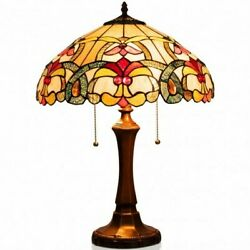 Tiffany Style Victorian 2 Light Table Lamp with 16quot; Stained Shade $149.99