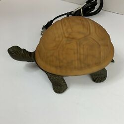 Decorative Turtle Shaped Lamp Brass Base Amber Colored Glass Shell Electric $27.30