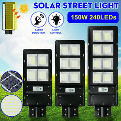 150W LED Solar Street Light IP67 Dusk to Dawn PIR Outdoor Commercial Sensor Lamp