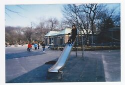 Found PHOTO Young Woman on Playground Slide $4.00