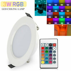 3W RGB LED Ceiling Fixtures Light Recessed Panel Downlight Spot Lamp Remote $21.99
