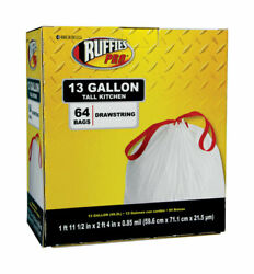 Ruffies Pro 13 gal. Tall Kitchen Bags Drawstring 64 pk $18.60