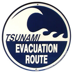 TSUNAMI EVACUATION ROUTE Metal Road Sign Nautical Tiki Bar Pub Wall Beach Decor $15.98