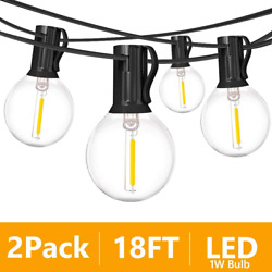 2 Pack 18Ft Outdoor Patio String LightsUL Listed Commercial Light String with