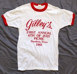 GILLEY#x27;S 1st Annual 4th Of July Picnic Pasadena TX 1981 VINTAGE T SHIRT Country $75.00