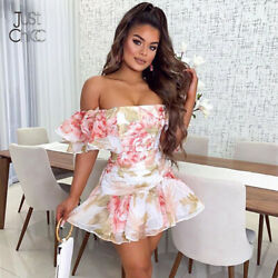 Yissang Women Floral Mini Dress Sexy Short Sleeve Ruffle Party Summer Dresses $20.99