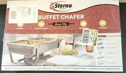Sterno Products 70153 Foldable Frame Buffet Chafer Set 8 qt 8 quart Silver $33.99