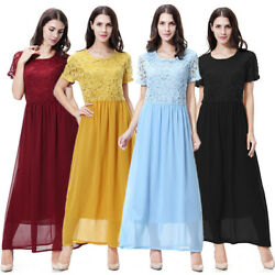 Muslim Womens Lace Maxi Islamic Dress Short Sleeve Abaya Party Cocktail Dresses $20.79