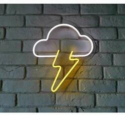 "LED Neon Light Sign 13"" Cloud and Lightning Neon Wall Sign Hanging Art for Bar $57.64"