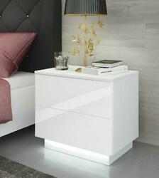 2Drawer High Gloss Nightstand w LED RGB Light Modern Bedside Table Bedroom White $79.99