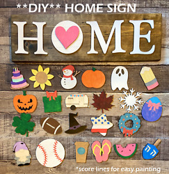 DIY HOME Interchangeable Wood shapes unfinished HOME sign Seasonal Decor $25.00