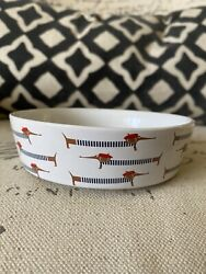 New DACHSHUND Sausage Dog Small Round DOG BOWL Red Blue Food Water Doxie Dish $14.99