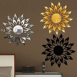 Sun Mirror Wall Stickers Reflective Home Decor Living Room Modern Decorations $17.19
