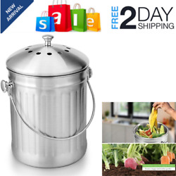 Stainless Steel Compost Bin 1.3 Gallon Indoor Compost Bucket for Kitchen Counter $31.01