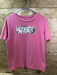 Vans Off The Wall Boys Youth Pink W B W Logo Large $11.97