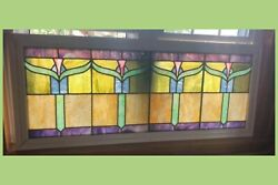 Antique LARGE Leaded Stained Glass Window 52quot; x 22quot; Early 1900s $2500.00
