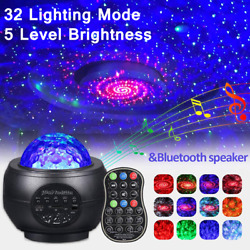 LED Galaxy Starry Night Light Projector Ocean Star Sky Party Speaker Lamp Remote $30.89