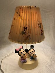 * Vintage 1984 Baby Minnie amp; Mickey Mouse Lamp with Night Light Original Shade $42.50