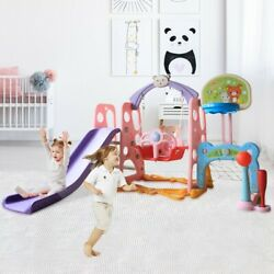 6 In 1 Kids Indoor And Outdoor Slide Swing And Basketball Football Baseball Set $138.88