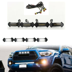 4X Smoke Front Grille White LED Lights for 16 up Toyota Tacoma w TRD Pro Grill