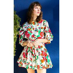 Rhode Resort Ella Floral Print Cotton Poplin Mini Dress Boho XS NEW 199414 US $249.93