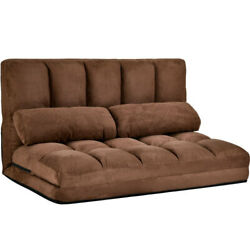 Chaise Lounge Sofa Double Size Floor Couch Sofa Sleeper Bed with Two Pillows $256.99