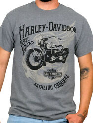 Harley Davidson Mens Good Times Vintage Motorcycle Grey Short Sleeve T Shirt $12.99