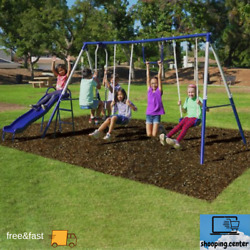 Sportspower Arcadia Metal Swing Set Slide Trapeze Swings Glider $218.71