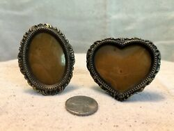 Set Of 2 Mini Frames 1.5x2 Sz Photo Oval And Heart Metal With Easel Back $12.99