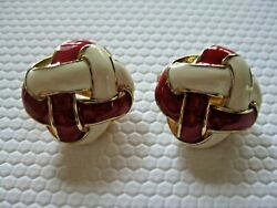 MONET Earrings Clip On Woven Red Beige Enamels Square Gold Plate1980s Signed $20.00