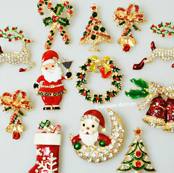 12 Christmas pins Brooch Lot Santa Christmas Tree Rhinestone Holiday Party New $15.95