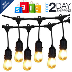 48FT Outdoor Commercial String Lights Heavy Duty Weatherproof Patio Lights