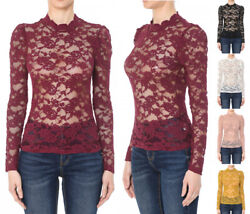 S M L Women#x27;s All Over Sheer Lace Long Puff Sleeve Top Stretch Solid Mock Neck $14.99