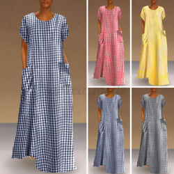 Womens Short Sleeve Printed Check Casual Holiday Dresses Summer Long Baggy Dress $15.63