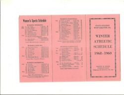 1968 69 West Chester State folding winter athletic schedule $12.95