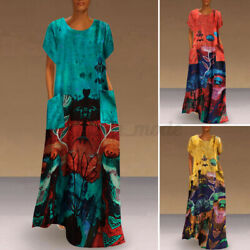 Womens Long Dress Short Sleeve Beach Sundress Printed Holiday Party Club Dresses $15.99
