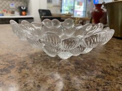 Vintage Crystal Heavy Serving Bowl Dish Clear Sea Shell Cluster $32.95