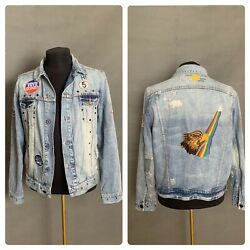 VERY RARE Paul Smith X Red Ear Men`s Casual Rainbow Eagle Jeans Jacket Size XL $345.00