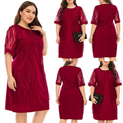 Women Mesh Mid Sleeve Dress Ladies Party Cocktail Evening Midi Dress Plus Size $32.59