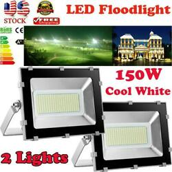 2X 150 Watt Slim High Power LED Flood Light Cool White Indoor Outdoor Fixtures