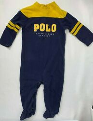 Ralph Lauren Boys 9 Months Blue amp; Yellow Polo Logo Footed Romper $9.99