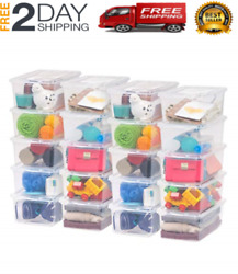 20 Pack Shoe Storage Boxes Plastic Bin with Lid Stackable Design Container Clear $91.99