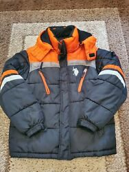 PRE OWNED DESIGNER BOYS RALPH LAUREN BLUE amp; ORANGE WINTER COAT. SIZE M 10 12.
