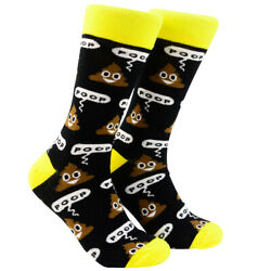 Funny Colorful Poop Emoji Mens Novelty Crew Poo Pile OSFM Tube Dress Socks Gift $12.50