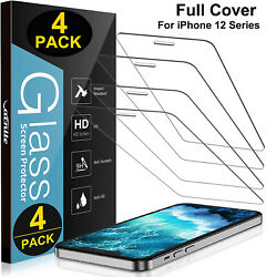 4 Pack iPhone 12 Pro max mini iPhone 12 Pro Max Tempered Glass Screen Protector $7.99