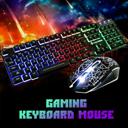 Wired Gaming Keyboard and Mouse Combo RGB LED Backlit Gaming for Windows Laptop $21.89