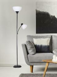 Floor Lamp With Additional Adjustable Reading Light 72#x27;#x27; Tall Black Combo Pack $22.98