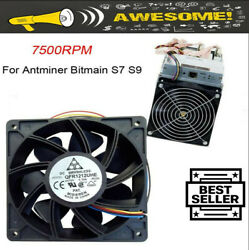 7500RPM Cooling Fan Replacement 4 pin Connector For Antminer Bitmain S7 S9 Black $13.99