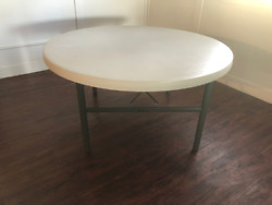 LIFETIME 72 INCH ROUND TABLE COMMERCIAL WHITE GRANITE